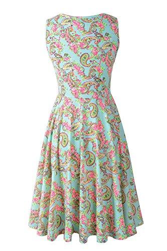 Jc.Kube Damen Sommerkleid Strandkleid Traeger mit Flatterndem Rock Blumenmuster Grün