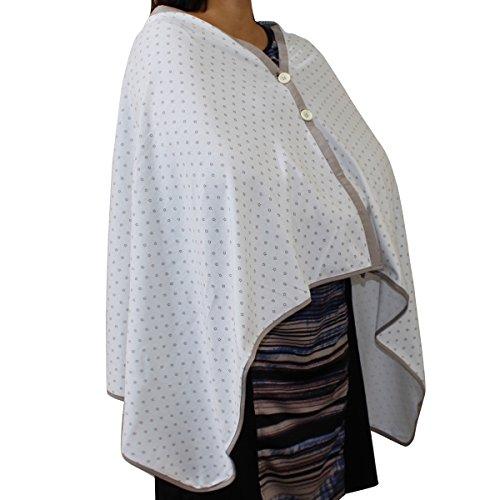 Kadambaby - White Star printed, Premium Nursing Cover / Breastfeeding Poncho / 100% Cotton. Stylish Nursing poncho / can be used as Stole/Scarf