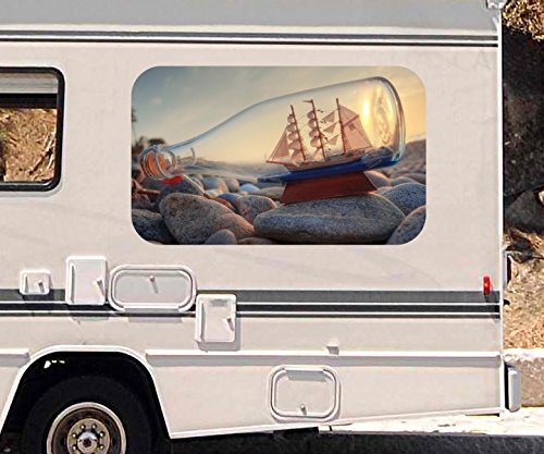 3d-autoaufkleber-flasche-schiff-strand-meer-steine-wohnmobil-auto-kfz-fenster-motorhaube-sticker-auf