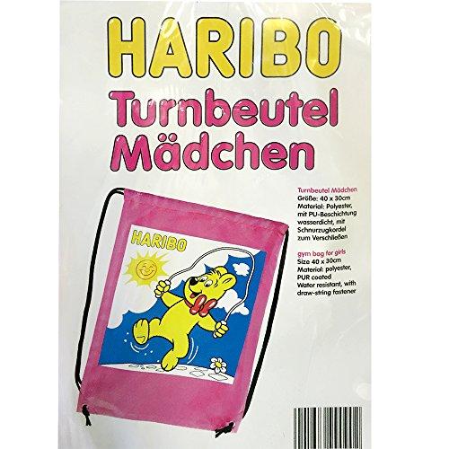 Preisvergleich Produktbild Haribo Turnbeutel für Mädchen mit Seilspringen Goldbär Motiv Pink Polyester (1 Stck. Packung)