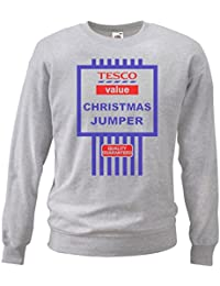 Grey or White Tesco's Funny Value Christmas Jumper Tesco Black Friday Sweatshirt