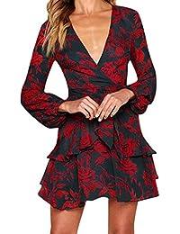 Sylar Vestidos Mujer,Impresión De La Manera con Cuello En V Vestido De Volantes De