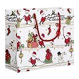 Fdit Cadeau Sacs Sacs de Cadeaux de réveillon de Noël d'impression Père Noël Pochette Papier d'emballage avec la Main Corde pour des Bonbons Petits Cadeaux