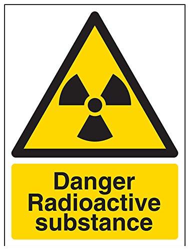 vsafety Schilder 6A028AN-S Gefahr radioaktive Substanz Warnschild für giftige Chemikalien, selbstklebend, Hochformat, 150mm x 200mm x 200mm, schwarz/gelb