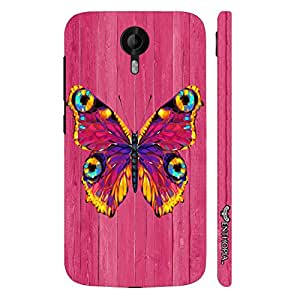 Micromax Canvas Nitro 3 E455 Butterfly on a Pink Wall designer mobile hard shell case by Enthopia