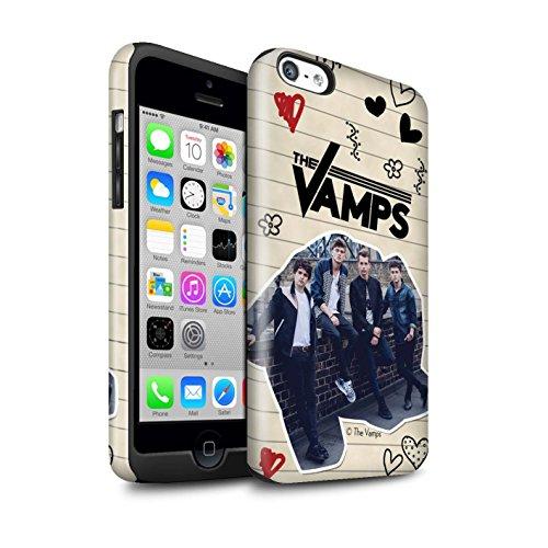Officiel The Vamps Coque / Brillant Robuste Antichoc Etui pour Apple iPhone 5C / Pack 5Pcs Design / The Vamps Livre Doodle Collection Stylo Noir