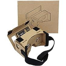 google le carton, casque de réalité virtuelle lunettes de réalité virtuelle 3d vr magasin big clear case avec lentille optique tridimensionnelle et confortable bandeau pour toutes les 15 à 18 pouces du nez pour smartphones