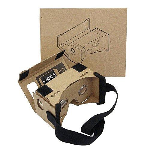 Google Cardboard Kit por Gran Lente Gafas De Realidad Virtual 3D De Cartón Almohadilla y NFC, Compatible Con 3-6inch Pantalla Smartphone De Apple y Android