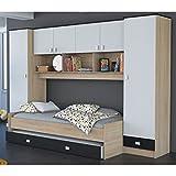 Schrankbett akazie grau / weiß / schwarz B 308 cm Jugendbett Wandbett Schrank Gästebett Jugendzimmer Kinderzimmer Gäste Studentenzimmer