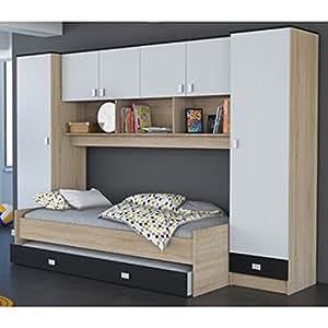 schrankbett akazie grau wei schwarz b 308 cm jugendbett wandbett schrank g stebett. Black Bedroom Furniture Sets. Home Design Ideas