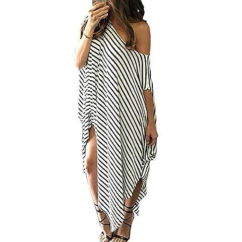 Women Shirt Dress Long Loose Stripe Batwing Sleeve Off shoulder Dress Plus Size