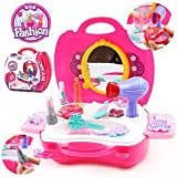 #7: Emob 21 Pcs Cosmetic and Makeup Kit Pretend Play Set with Handy Suitcase for Kids
