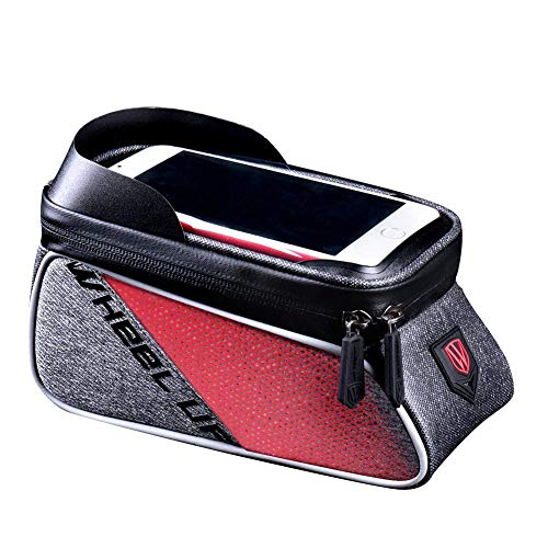 Tasche Wasserdichte Vorderrohr Lenker Radfahren Pack Mit Touchscreen Telefon Fall Für iPhone X / 8/7 Plus / 7/6 S / 6 Plus / 5 S,Red ()