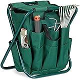 Relaxdays Tabouret porte-outils de jardinage 16 poches et compartiment intérieur pliable HxlxP: 42 x 30 x 39 cm, vert