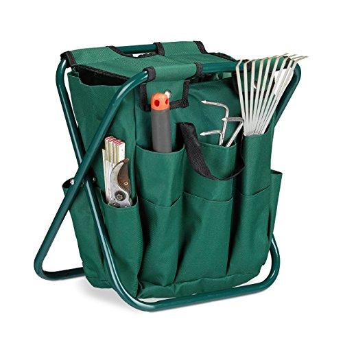 Relaxdays Gartenwerkzeug Hocker, Gartengeräte Aufbewahrung, klappbar, HxBxT: 42 x 30 x 39 cm, Klapphocker Gartenarbeit, grün (Bücken Handschuhe)