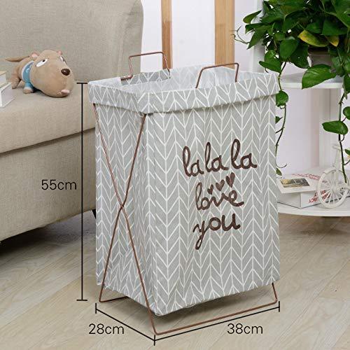 Gu3Je Storage Basket Wrought Iron Portable Dirty Clothes Storage Basket Folding Bracket Waterproof Laundry Basket Hamper Toy Storage Box Yellow Letter Iron Frame 36x26x55cm -