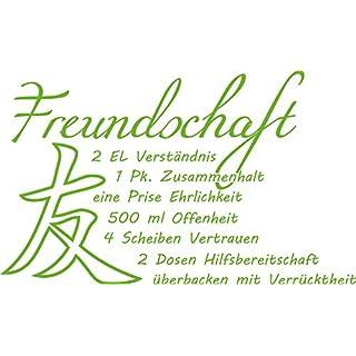 GRAZDesign Wandtattoos Küche Esszimmer Freundschaft Rezept - Aufkleber für Küche Sprüche - Wandtattoo Küche witzig / 66x40cm / 063 lindgrün