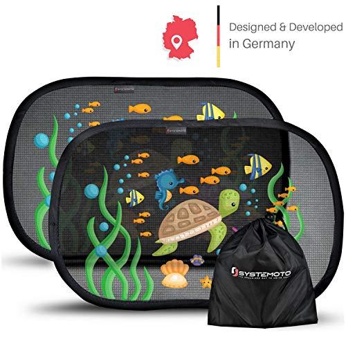 Systemoto Auto Sonnenschutz Baby mit Zertifiziertem UV Schutz (2er Set) - Selbsthaftende Sonnenblenden für Kinder mit süßen Tier Motiven (Sea Life)