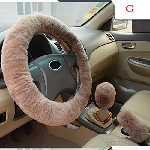 Ansenesna Neue warme und durchlässigkeit fleece-Car-Lenkrad-Abdeckung,hand Bremse Shift,1 Sätze von 3 Stücken,Kfz-Lenkrad Pelz Sleeve (Light Luo Color)
