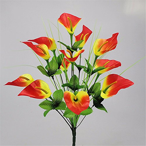 MEILI FLOWER Zuhause Wohnzimmer Schlafzimmer Hochzeit Muttertag Geschenk Calla Lily Blühende Desktop Kunststoff 2 Stück, gelb