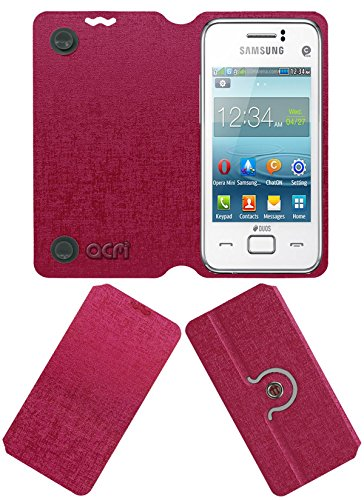 Acm Designer Rotating Flip Flap Case for Samsung Rex 80 S5222r S5222 Mobile Cover Pink  available at amazon for Rs.399