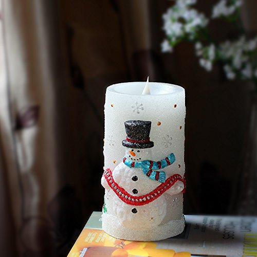 candela-di-Natale-con-timer-e-pile-pupazzo-di-neve1