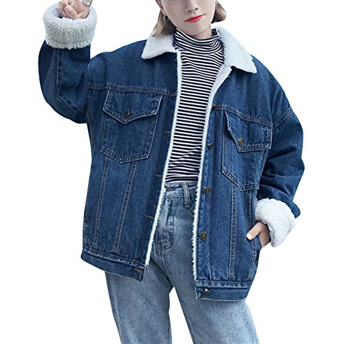 ZhuiKun Damen Warm Jeansjacken Boyfriend Wintermantel Denim Winterjacke Dunkelblau S