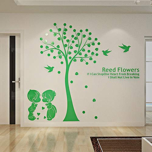 3d Stereo Acryl Crystal Acryl-Baum-Mauer Sticker Wohnzimmer niedliche Cartoon romantischen Schlafzimmer dekorativen wasserdichten Wand Sticker 2.8m*2.1m grün -