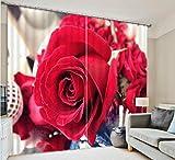 H&M Gardinen Vorhang Valentine rote Rose EIN Schatten Tuch UV warmen dekoriert Schlafzimmerfenster Vorhangstoff 3D-Druck fertig, Wide 2.03x high 2.13