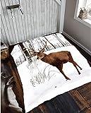 Weihnachten Animal Print Kunstfell Großer Überwurf Mink Warm Fleece Bett Sofa Decke in verschiedenen Designs, 100 % Polyester, Winter / Hirsch, 150 x 200cm