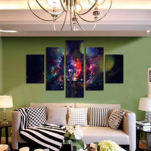 Leinwand Wandkunst Malerei Rote Und Blaue Augentropfen 5 Stücke 150X80Cm Moderne Drucke Auf Leinwand-Abstraktes Bild Für Home Office Wohnzimmer Schlafzimmer,Rahmen