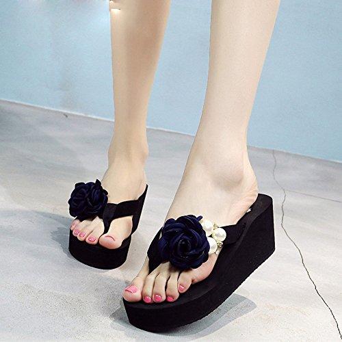 Estate Sandali Pantofole femminili di modo di estate Sandali di spiaggia Sandali spessi di alto tallone femminili Pantofole antisdrucciolevoli per 18-40 anni Colore / formato facoltativo 1003