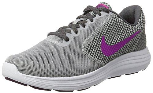 Nike Damen Revolution 3 Laufschuhe, Mehrfarbig (Wolf Grey/Fire Pink/Dark Grey), 40.5 EU