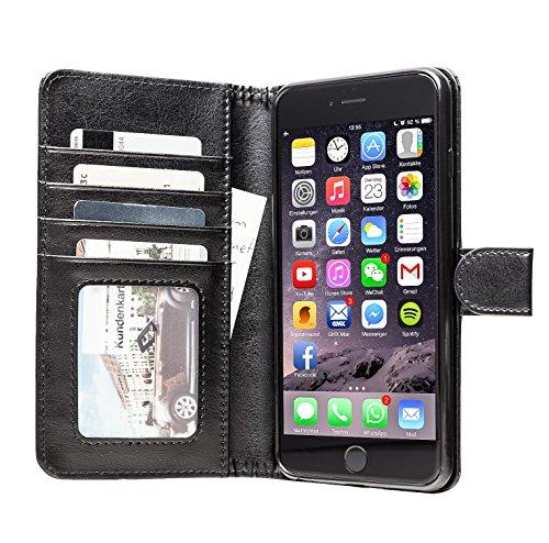 iPhone 6 Plus Hülle | Tasche aus Luxus Leder mit Kartenfach für 5.5 Zoll Handy | Auch für 6s Plus | Vorne und Hinten Brieftasche | 2 in 1 Book Case Etui | Original Adento Marken Design | Schwarz