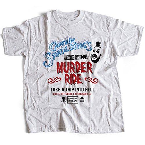 Flamentina 9341w Captain Spaulding Herren T-Shirt Ride Murder House Hell Devil Thousand Reject Satan Skull Corpse Amusement Park(Large,White)