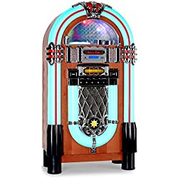 auna Graceland XXL Jukebox vintage (USB, SD, AUX, reproductor CD compatible con MP3, radio FM AM, iluminación LED, decoración madera, estilo diseño años 50)