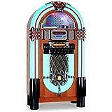 auna Graceland XXL Jukebox vintage (USB, SD, AUX, reproductor CD compatible con MP3, radio FM AM, iluminación LED, decoración madera, estilo diseño años 50)