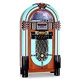 auna Graceland-XXL Jukebox Nostalgie Musikbox 50er Jahre Style (USB-Port, SD-Slot, MP3-fähig, AUX-Eingang, CD-Player, UKW/MW-Tuner, authentische LED-Beleuchtung) türkis