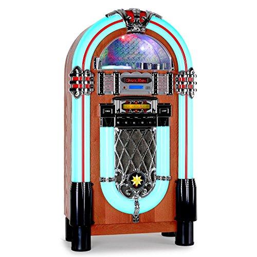 auna Graceland XXL • Jukebox • Retro Musikbox • MP3-fähiger CD-Player • USB-Port • SD-Karten Slot • 3,5 mm-Klinke AUX-Eingang • UKW Radio • 2-Band Equalizer • LED-Beleuchtung • Lichtwechsel • türkis