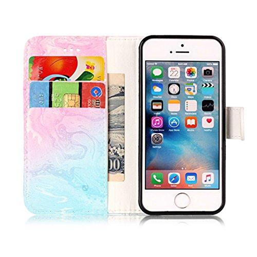 iPhone 55S se Support avec Bumper plaqué, newstars 3en 1Coque antichoc ultra fine Texture PC Coque arrière de protection rigide Shell Housse Coque protection tous les rond rotatif à 360° pour iPho Z- Marble Series 7