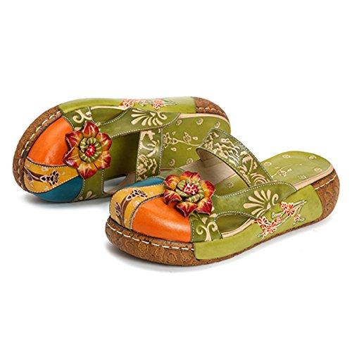Gracosy Sabots Cuir Femmes, Sandales en Cuir à Fleurs à Talons Compensés Plates Chaussures de Ville Été Mules Clogs Pantoufles Fait à la Mains pour Jardin Plage - Bleu Gris Vert Rouge