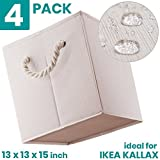 MiiKARE Foldable Storage Bins Ultra Strong Waterproof Removable Rope Handles for IKEA 13 X 13X 15 inches Set of 4 Toy Organizer Drawer Cube Basket Boxes Containers Office Closet 22lb loading