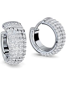 Creolen breit Zirkonia weiß (Diamanten Ersatz) Silber rhodiniert Ohrringe Zirkonia 925 + inkl. Luxusetui + Design...