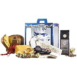 Cesta Navideña Gourmet - Cesta de Regalo con Panettone Italianos, Chocolate y Productos típicos de Navidad - Antica Confiseria