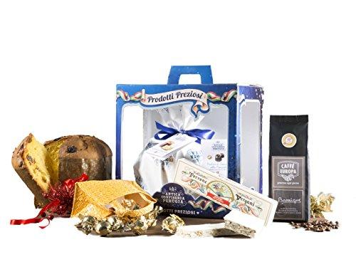 Antica confiseria perugia - cesto natalizio con panettone artigianale, cioccolato e prodotti tipici di natale