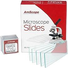 AmScope BS-72P-100S-2272piezas de pre-cleaned en blanco microscopio diapositivas y 100unidades de 22x 22mm Plaza coverslips, cristal