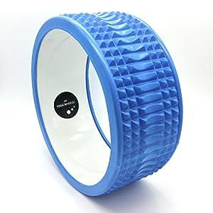MyYogaWheels Triggerpunkt-Yoga-Rad – Deep Tissue Verspannungen lösen – Physio-Massage Truhe zu öffnen, Rücken, Hüften + Schultern (Rumble Weiß + Blau)