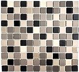 Mosaik Fliese Keramik hellbeige grau unglasiert Glas für BODEN WAND BAD WC DUSCHE KÜCHE FLIESENSPIEGEL THEKENVERKLEIDUNG BADEWANNENVERKLEIDUNG Mosaikmatte Mosaikplatte