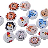 HOUSWEETY 100 Mix Tiere Holz Knopf Knoepfe Buttons 2 Loecher