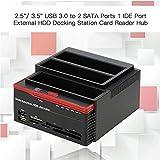 """Hard Drive Docking Station, KuWFi 2.5 """"/3.5"""" Porte USB 3.0 a 2 SATA 1 Porta IDE Disco rigido esterno Unità disco fisso Lettore di schede USB3.0 Hub con OTB / OTC offline"""